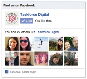 Facebook like box for Taskforce Digital as set up in the Facebook Developers