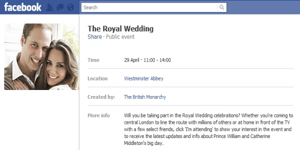 Royal Wedding Facebook event