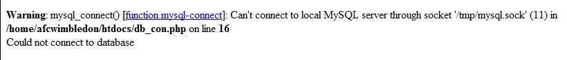 Error message on AFC Wimbledon website